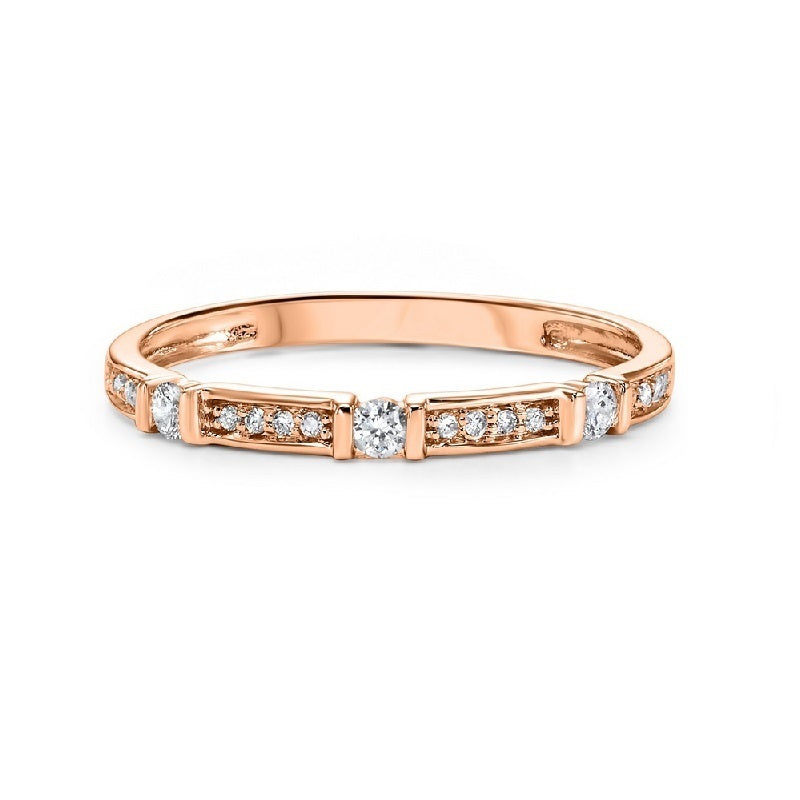 14K Rose Gold Diamond Mixable Ring 1/6 ct