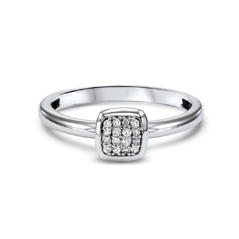 14K White Gold Diamond Stackable Ring - 1/10 ct.