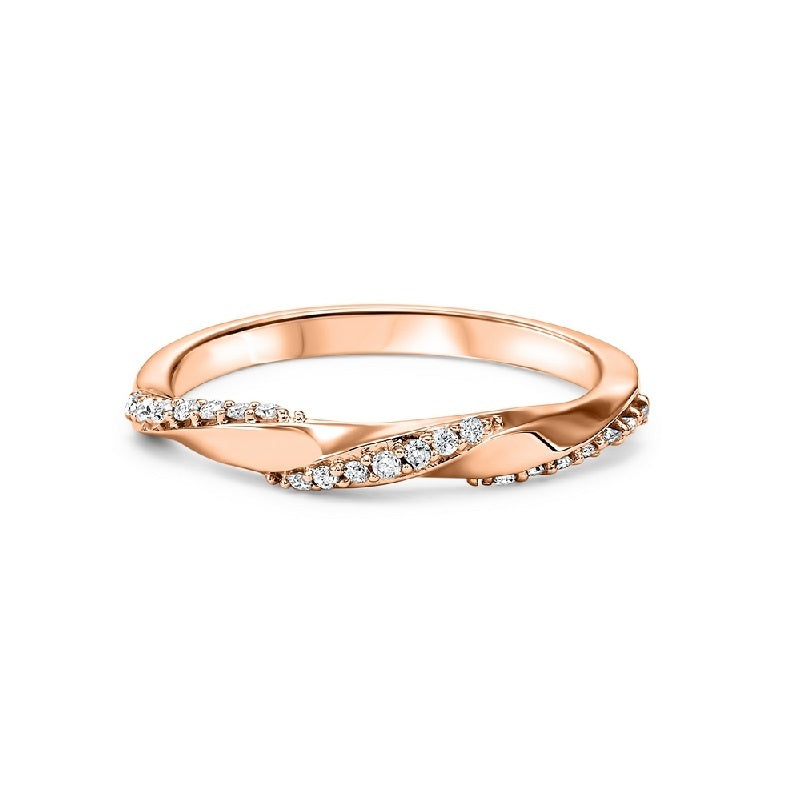 14K Rose Gold Diamond Mixable Ring 1/8 ct
