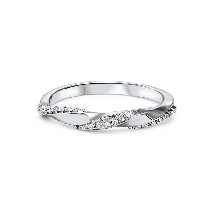 14K White Gold Diamond Criss-Cross Ring - 1/10 ct.