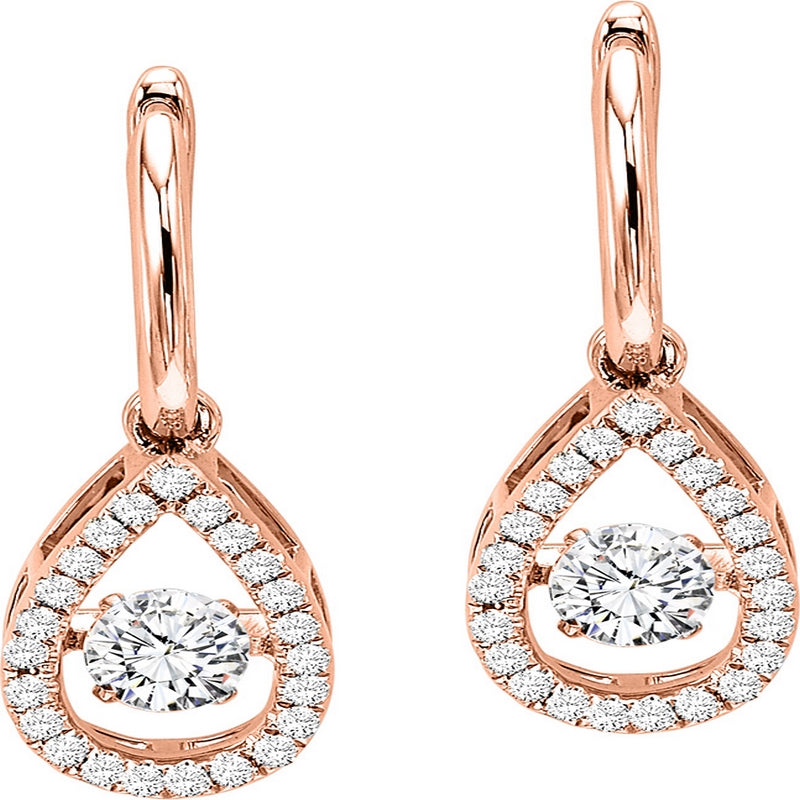 14K Rose Gold Diamond Rhythm Of Love Earrings 3/4 ct