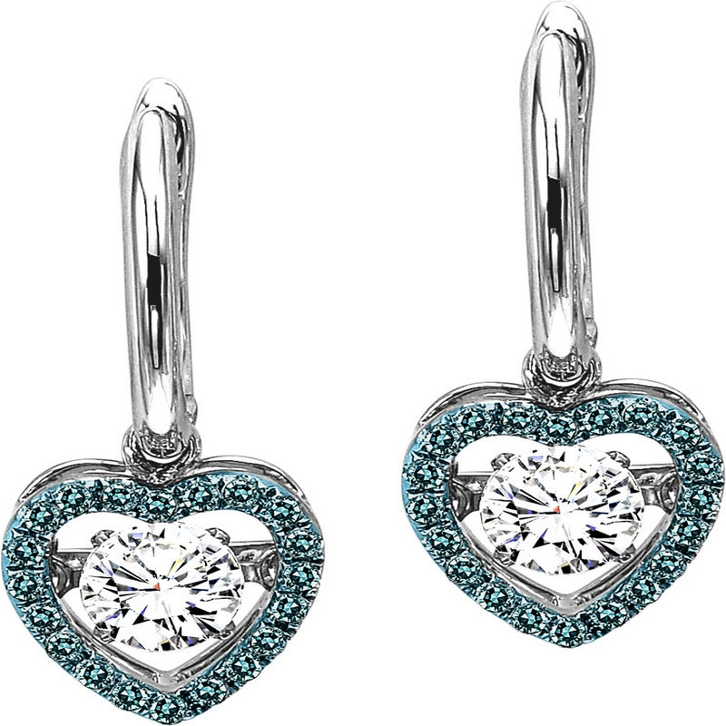 14K White Gold Blue & White Diamond Rhythm Of Love Earrings 3/4 ct