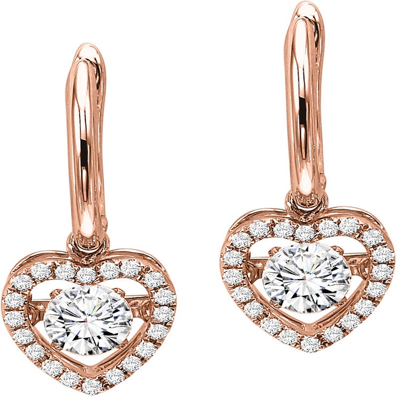 14K Rose Gold Diamond Rhythm Of Love Earrings 3/4 ct.