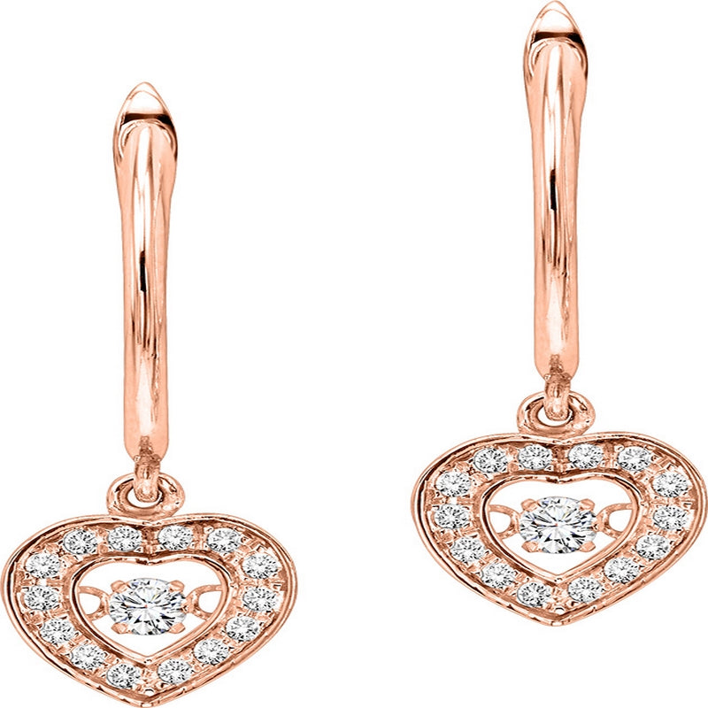 14K Rose Gold Diamond Rhythm Of Love Earrings 1/4 ctw