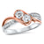 14K Rose Gold Diamond Two Stone Ring 1/5 ct