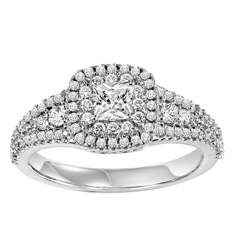 14K White Gold 1/2 ct Diamond Engagement Ring With 1/3 ct Center Diamond