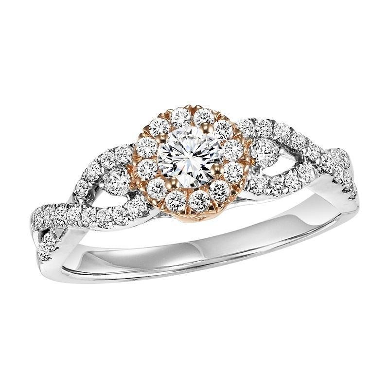 14K Two-Tone Halo Diamond Engagement Ring 1/2 ct with 1/4 ct Center Diamond