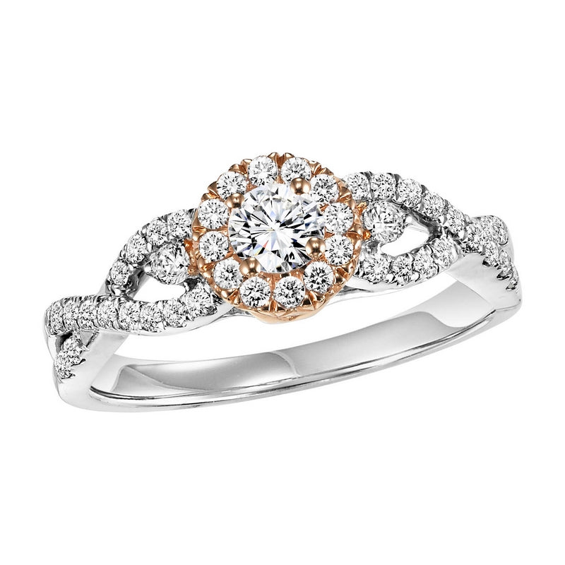 14K Two-Tone Halo Diamond Engagement Ring 1/2 ctw