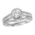 14K White Gold Baguette 1/2 ct Diamond Engagement Ring with 3/4 ct Center Diamond
