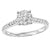 14K White Gold Cluster Head Diamond Engagement Ring 1/2 ctw