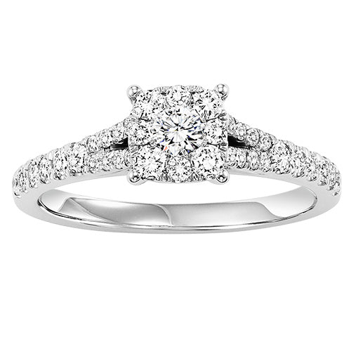 14K White Gold Diamond Cluster Engagement Ring 5/8 ctw