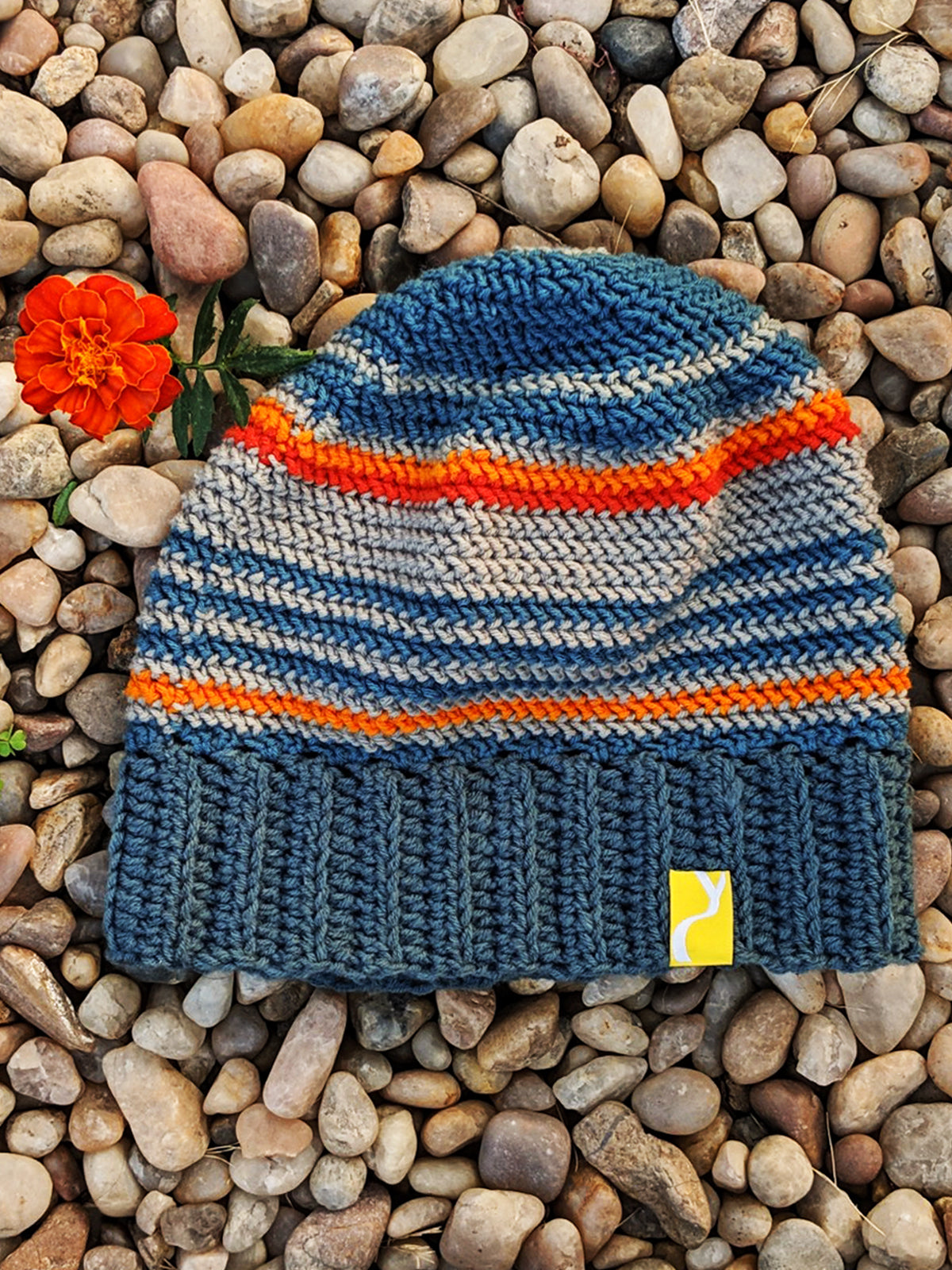 Grey & Orange Woolen Cap, , Yellow Curtain , Yellow Curtain - Yellow Curtain