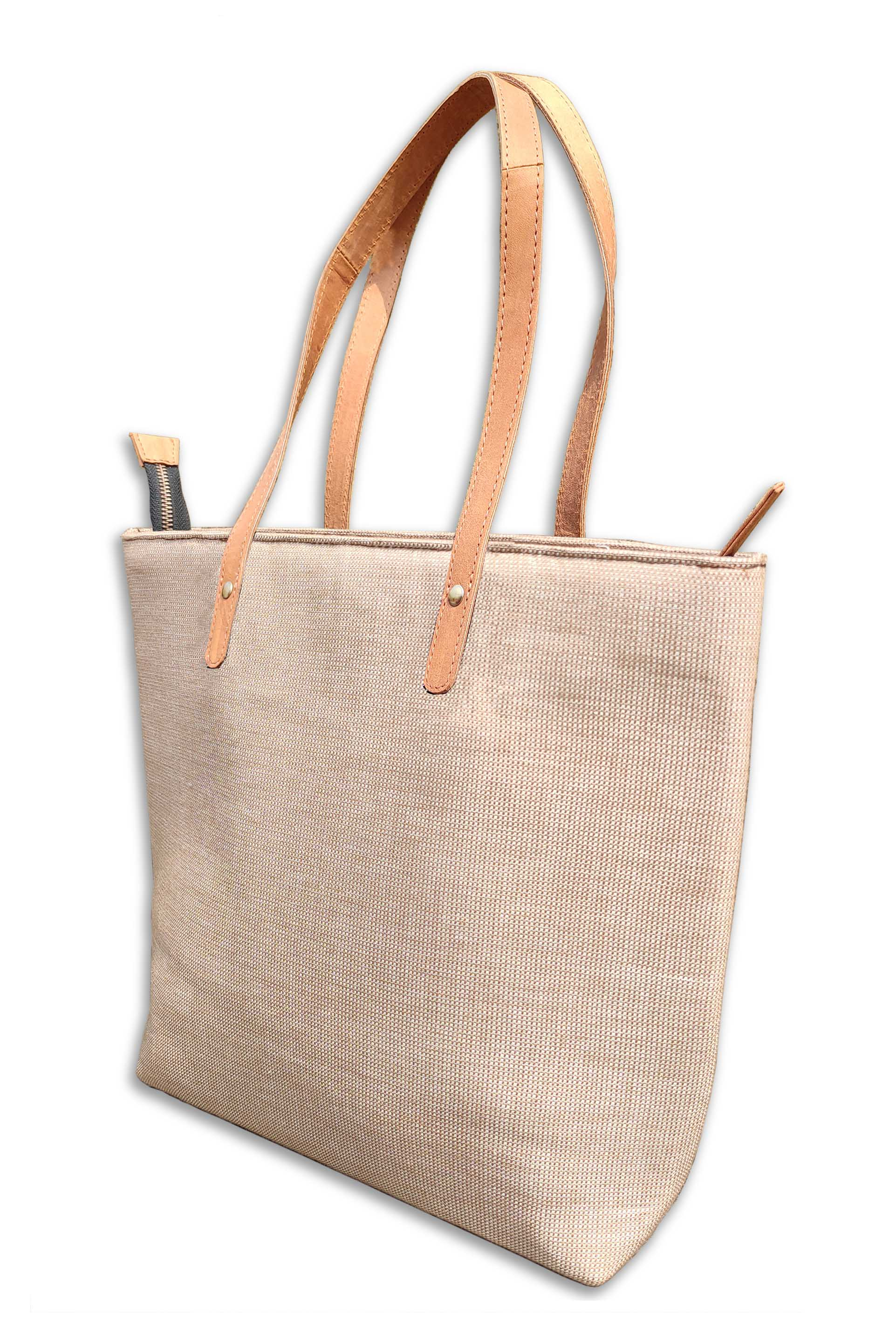 Cotton Beige Tote Bag with Leather Handle
