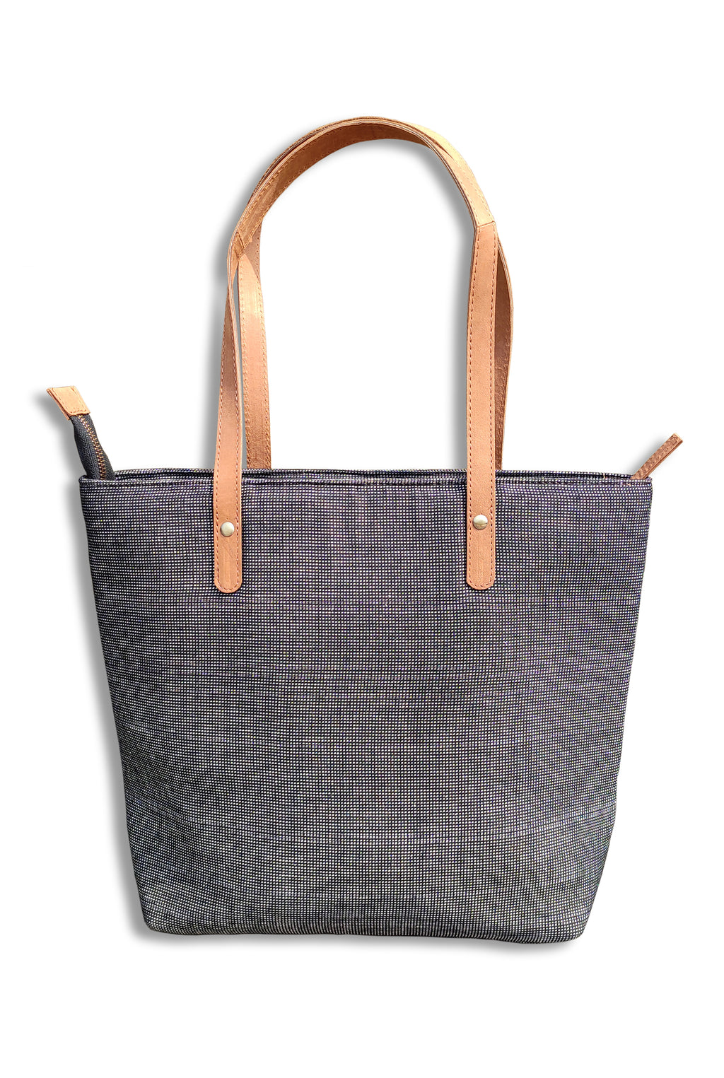 Cotton Black Tote Bag with Leather Handle