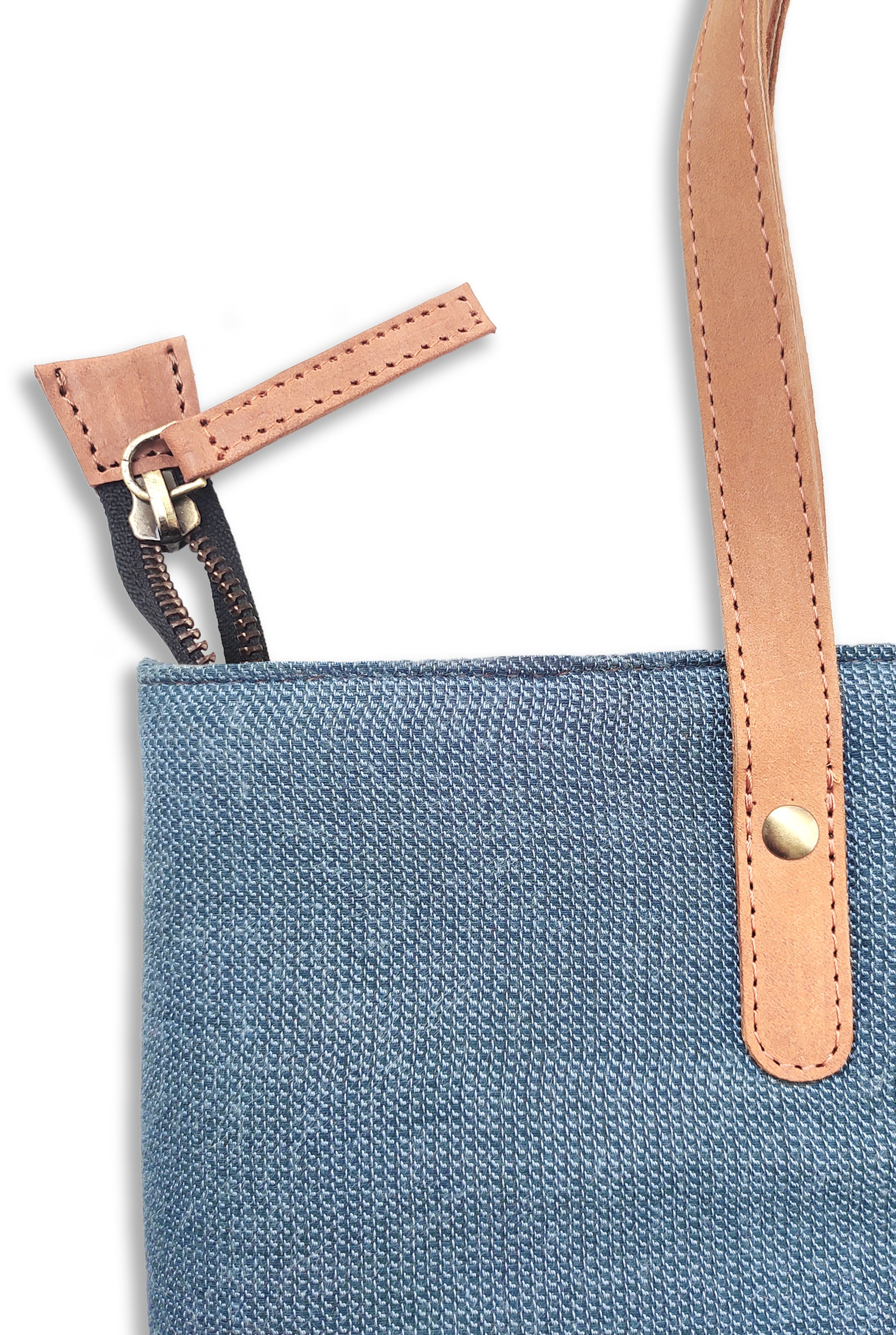 Cotton Blue Tote Bag with Leather Handle