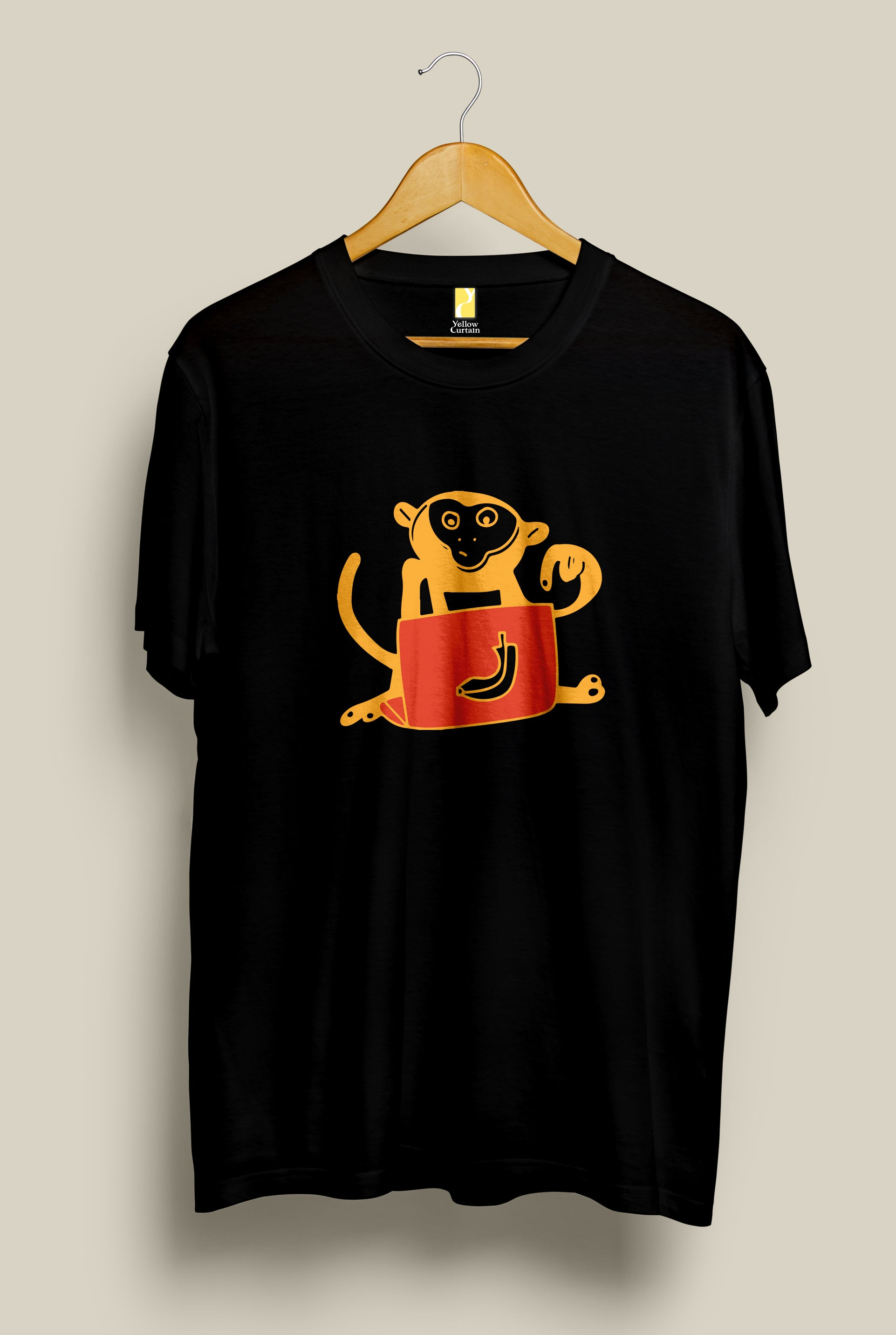 Monkey's Apple, T-Shirt, Yellow Curtain , Yellow Curtain - Yellow Curtain