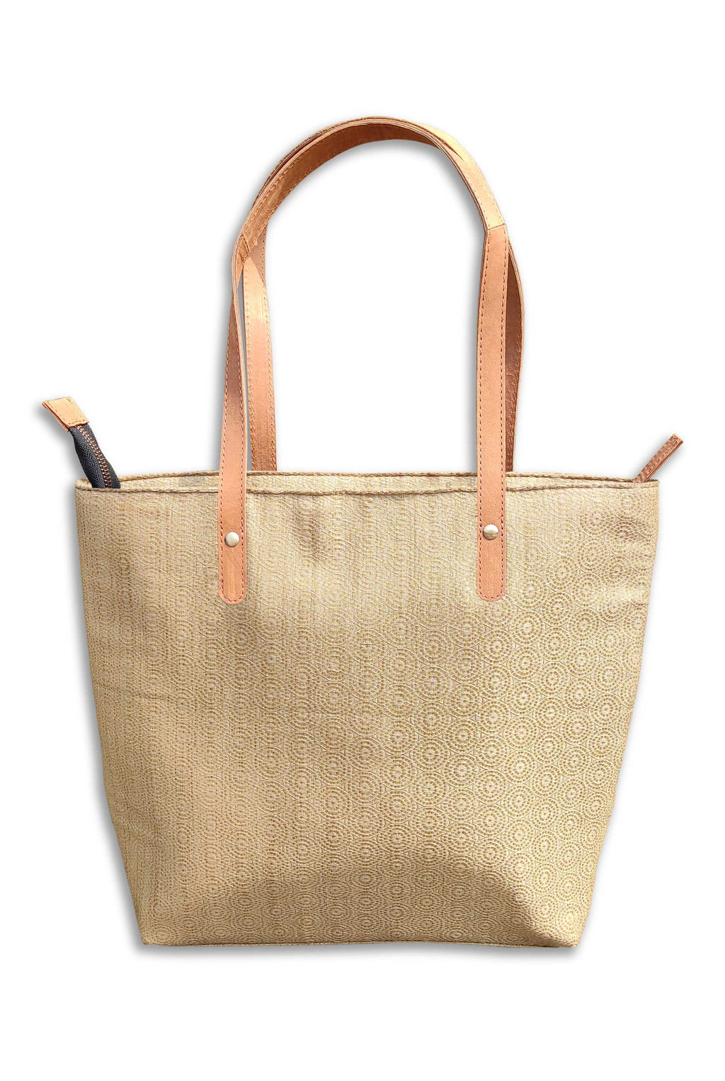 Silk Beige Tote Bag with Leather Handle