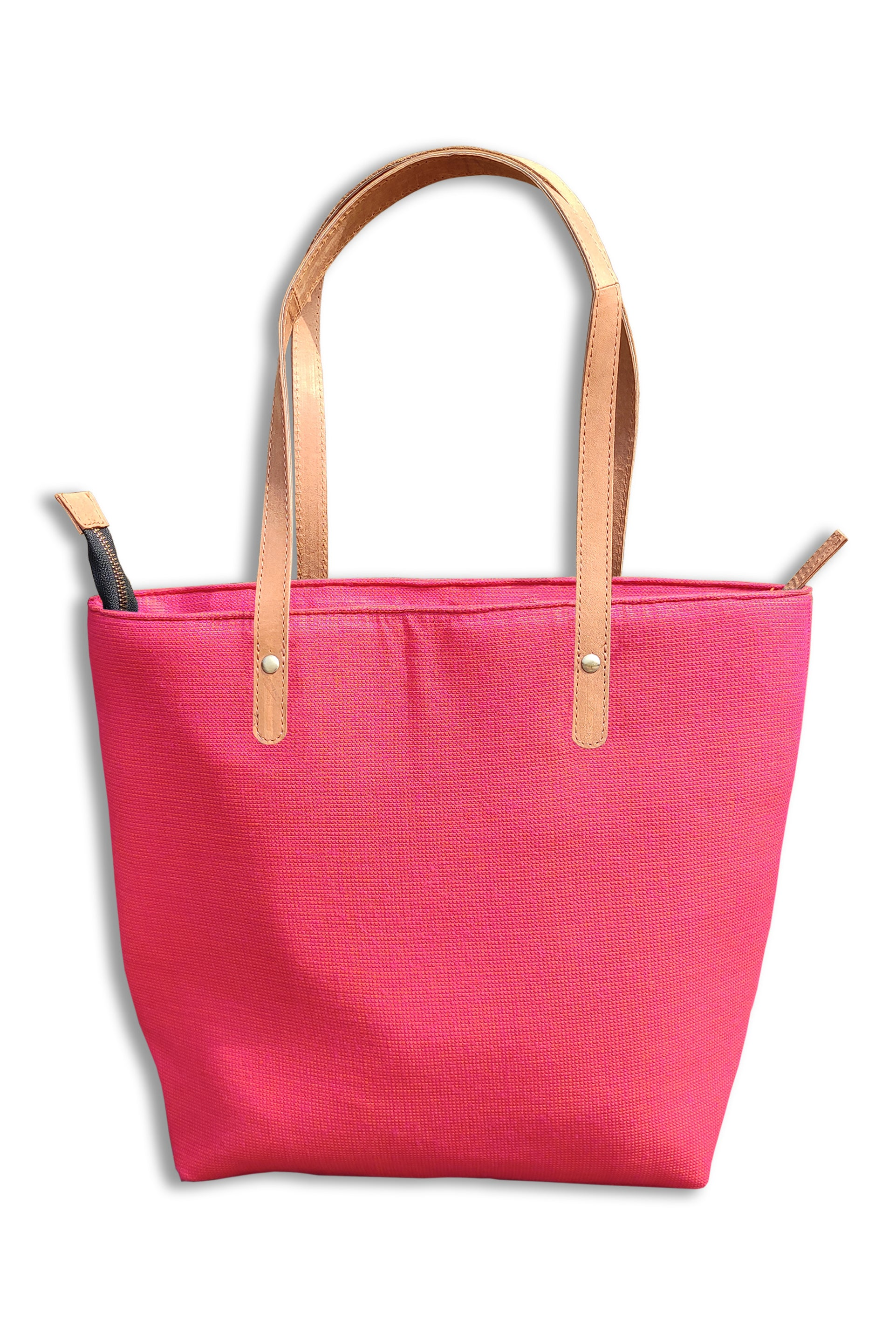 Cotton Pink Tote Bag with Leather Handle