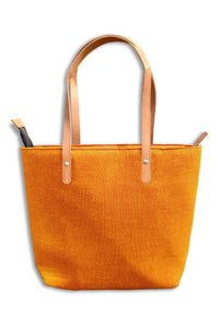 Cotton Yellow Tote Bag with Leather Handle