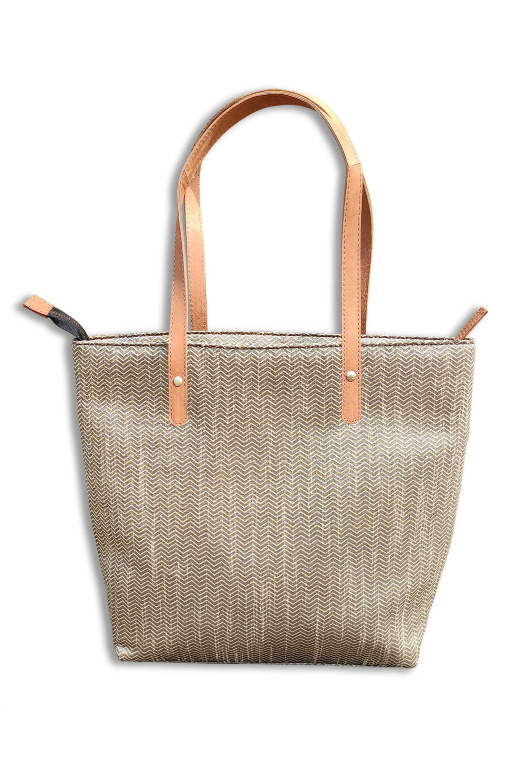 Silk Silver Tote Bag with Leather Handle