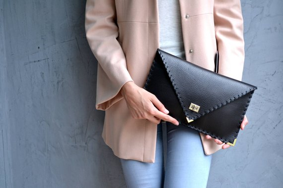 Leather Clutch - Black with gold