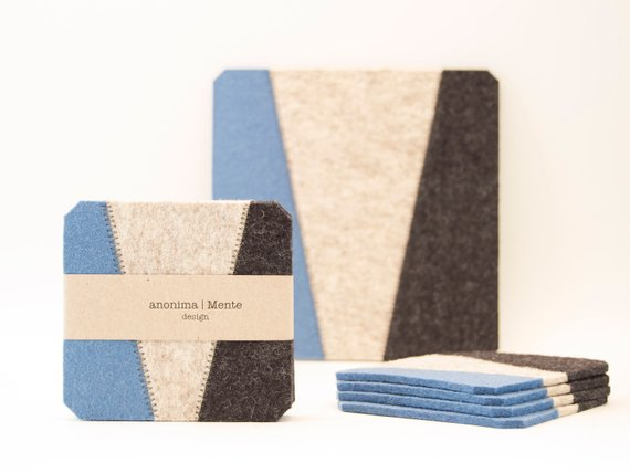 AnonimaMente Felt Coasters - Light Blue & Charcoal Square