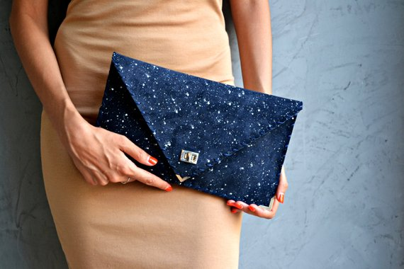 Suede Leather Clutch - Navy with Paint Flecks