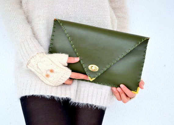 Leather Clutch - Hunter Green with gold
