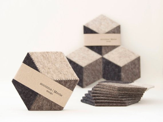 AnonimaMente Felt Coasters - Dark Grey & Cocoa