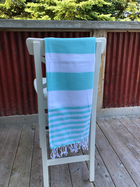 Turkish Peshtemal Towel - Snowhite Mint