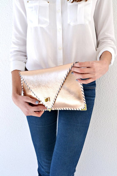 Leather Clutch - Metallic Rose Gold
