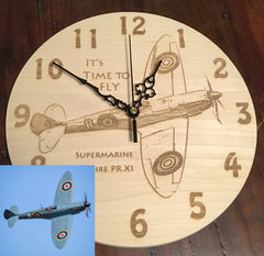 Spitfire photo engraved onto wooden clock