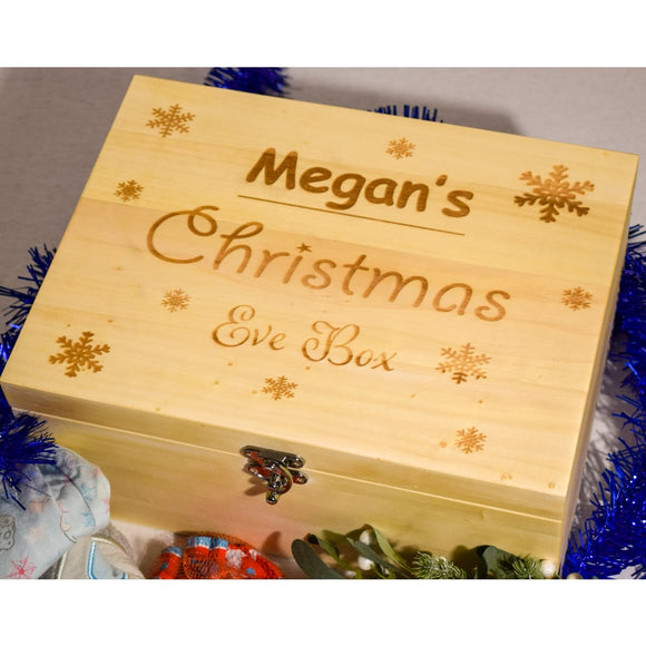 Christmas Eve Box Christmas Eve Boxes Name with Snowflakes