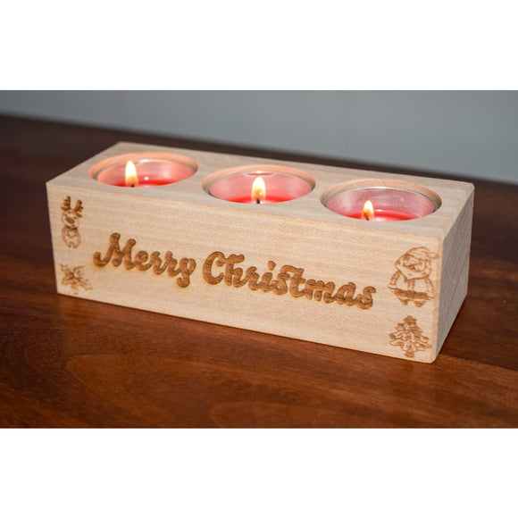 Solid Beech Merry Christmas Tealight Holder Tealight Holder