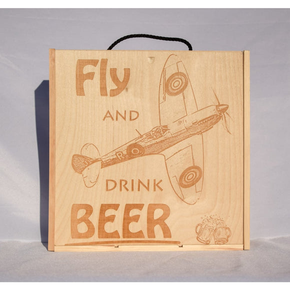 Wooden 3 Beer Bottle Gift Box - Aircraft Design Spitfire DC-3 Dakota Lancaster Beer Box Spitfire