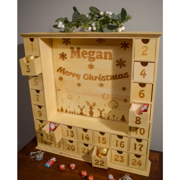 Wooden Advent Calendar with Personalisable Panel Advent Calendar Personalised