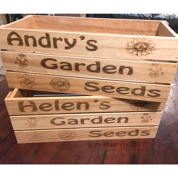 Wooden Apple Crate Storage Box - Gardeners or BBQ Condiments Apple Crate