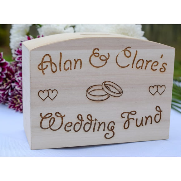 Wooden Wedding Fund Box - Engagement Gift Wedding Money Box