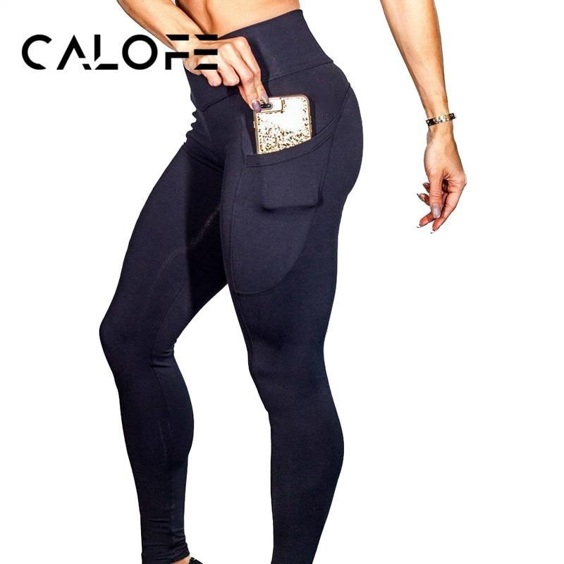 CALOFE Women's Yoga Pants Running Sport Yoga Pant Workout Fitness Slim Leggings One Side Phone Pocket High Waist Sport Trousers
