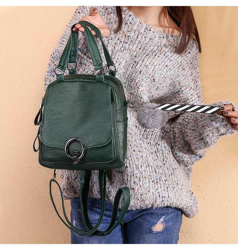 Soft Leather Casual Backpack