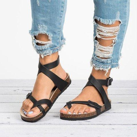c06eda7f57379 Women Ankle Strap Buckle Flip Flop Gladiator Thong Flat Sandals ...