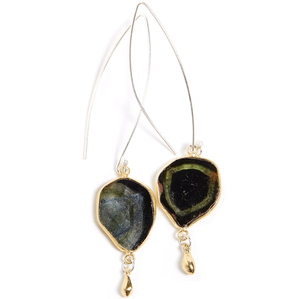 Black and green tourmaline dangle earrings