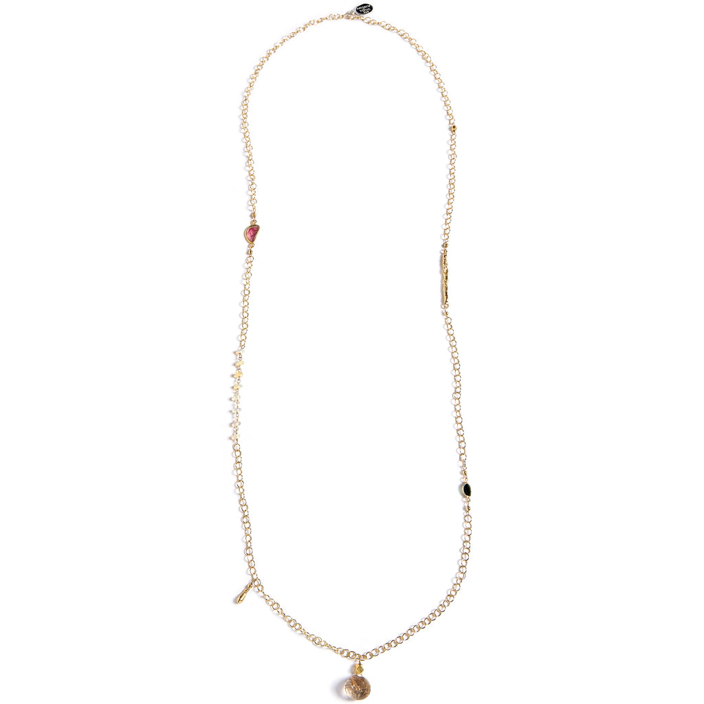 Delicate gold and natural stone chain
