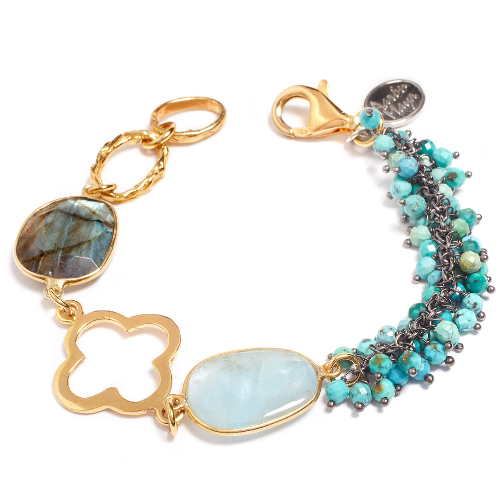 Gold, labradorite, aquamarine and turquoise bracelet