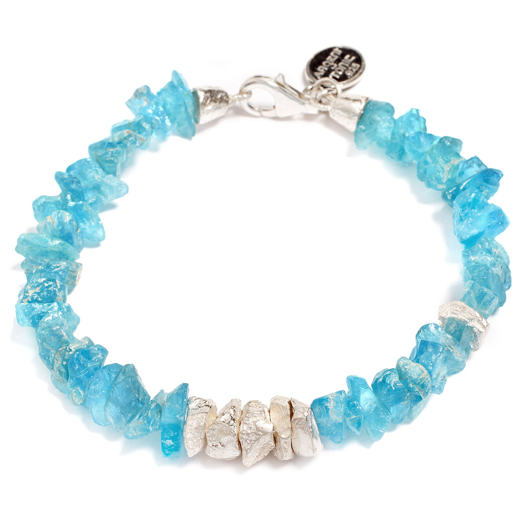 Silver and apatite bracelet
