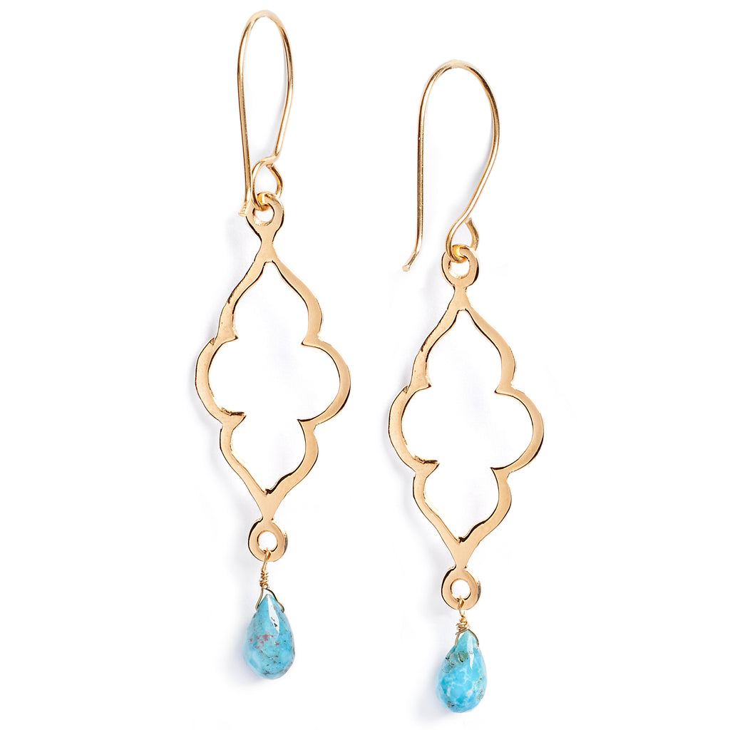 Gold and turquoise plated silver earrings