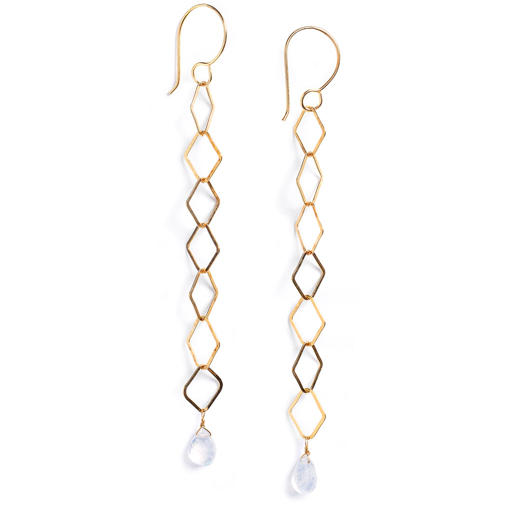 Gold and moonstone earrings