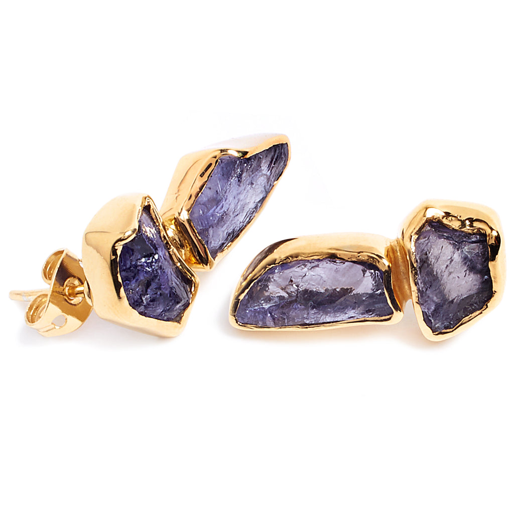 Gold and tanzanite earrings
