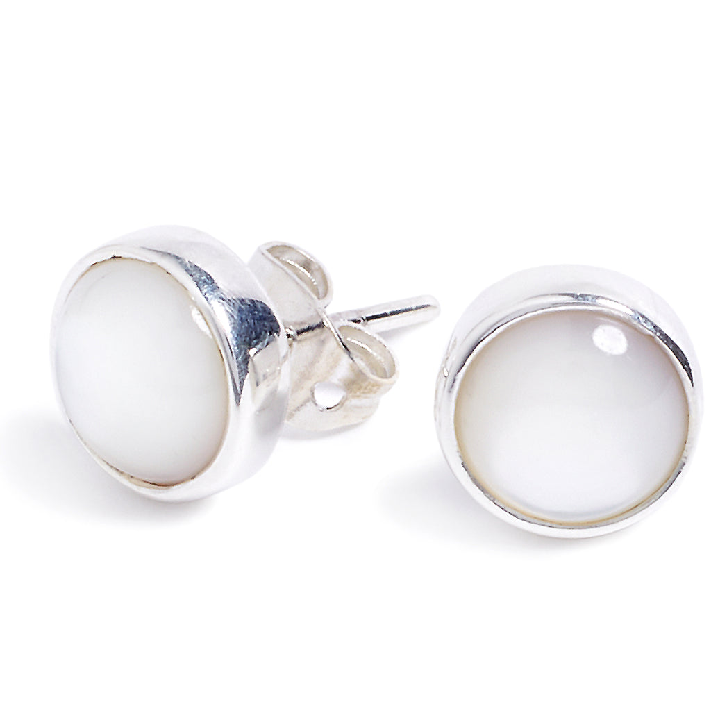 Silver and mother-of-pearl earrings