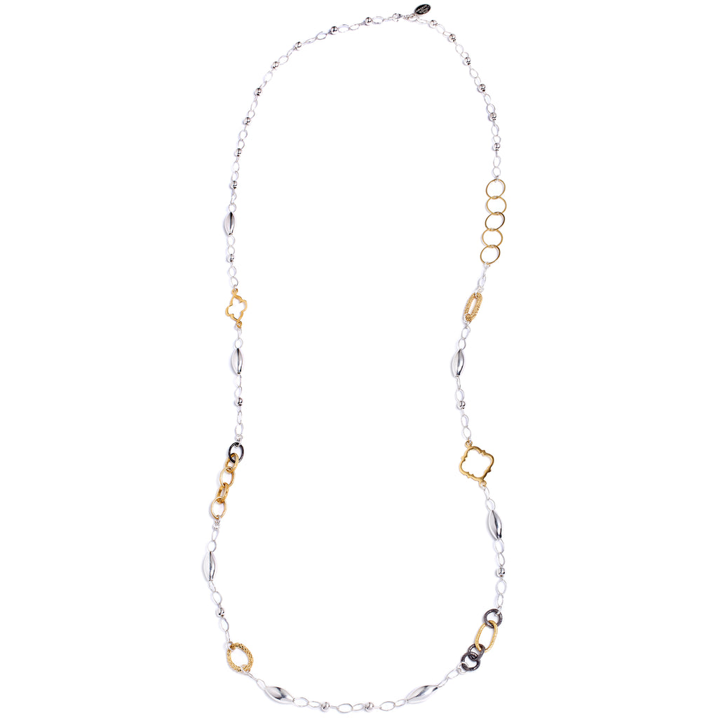 Silver and gold long necklace